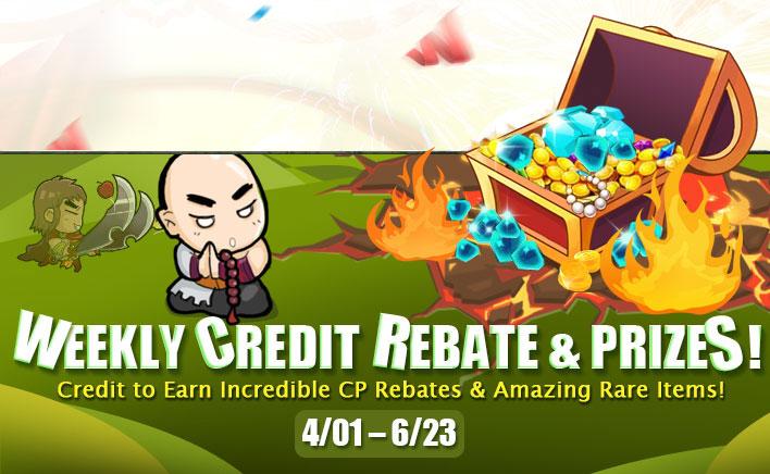Weekly Credit Rebate and Prizes